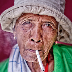 smoke & wrinkles by Ryan Sumampong - People Portraits of Women ( woman, old woman, portrait, face, people )