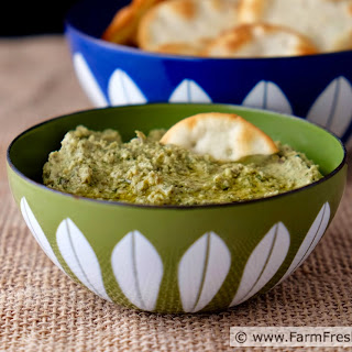 Green Garlic Hummus with Green Garbanzo Beans