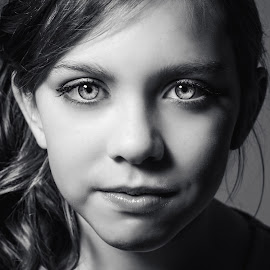 Beauty by Vix Paine - Babies & Children Child Portraits ( child, girl, crisp, black and white, shadow, child portrait, eyes )
