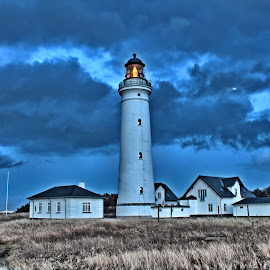 Lihthouse, of Hirtshals by Roar Randeberg - Buildings & Architecture Statues & Monuments ( clouds, old, beautiful, buildings, lighthouse, historical, light )