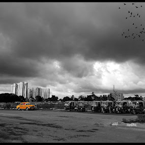 Just Another Day... by Sudipta Jana - City,  Street & Park  Skylines ( taxi, skylines, cloud day, rain, city,  )