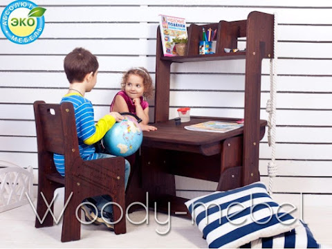 Детская мебель: парта с пеналом, надстройкой и стулом (Школярик1)