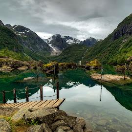 Bondhus lake by Sondre Gunleiksrud - Landscapes Waterscapes ( glacier, reflection, mountains, mountain, hdr, waterscape, reflections, lake, norway, glacier national park,  )