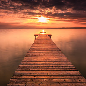 Sunset & Pier by Zoltan Duray - Landscapes Waterscapes ( water, neusiedler see, see, sunset, weiden am see, pier, cloud, sun, austria, , garyfonglandscapes, holiday photo contest, photocontest, long, exposure, daytime, edition, challenge, Chair, Chairs, Sitting )