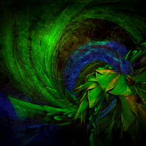 DARKNESS by Carmen Velcic - Digital Art Abstract ( abstract, blue, green, darkness, digital )