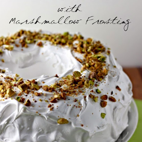 Pistachio Cake with Marshmallow Frosting