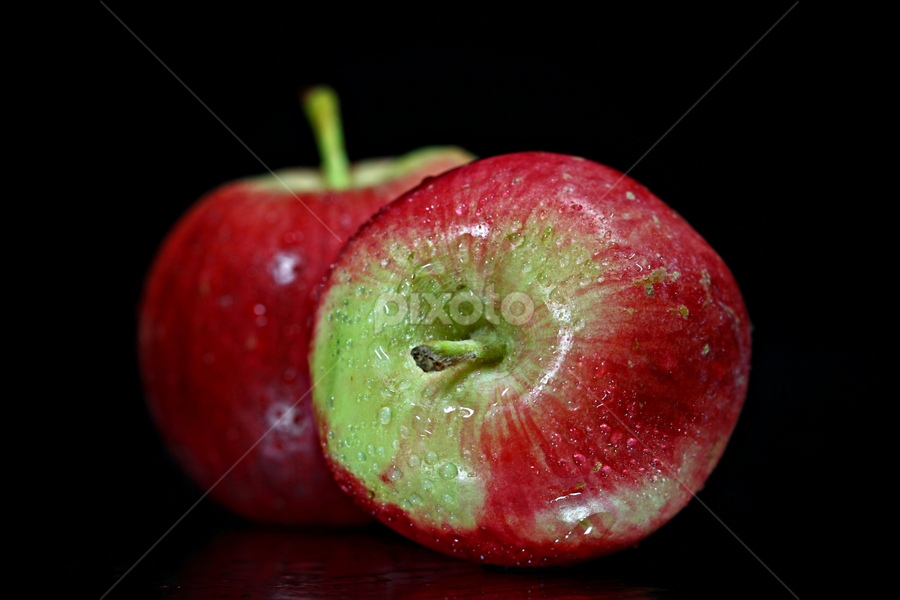 Two is a company. by Dipali S - Food & Drink Fruits & Vegetables ( black background, two, fruit, reflection, food, red apples, apples,  )