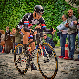 On His Own by Marco Bertamé - Sports & Fitness Cycling ( cobbles, uphill, red, blue, seconds, speed, prologue, effort, alone, black, man, tour de luxembourg )