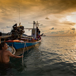 Fisher men  by Dries Fourie - Transportation Boats