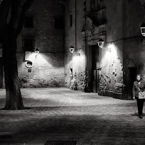 Plaça Sant Felip Neri by Joan Vega - City,  Street & Park  Street Scenes ( b&w, shadow, street, outdoor, night, light, barcelona )