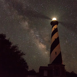Cape Hatteras at Night by Carol Ward - Buildings & Architecture Public & Historical ( cape hatteras lighthouse, obx, nc, cape hatteras, lighthouse, night, outerbanks, nightscape, milky way )