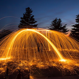 Steel Wool Spinning by Joe Kocher - Abstract Light Painting ( light painting, steel wool, wire wool, night, sparks )