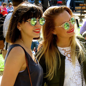 by Doug Hilson - People Street & Candids ( paris, fashion models, park, two womwn, high fashion sun glasses, candid,  )