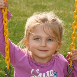 Swinging by Luanne Bullard Everden - Babies & Children Children Candids ( girls, swings, outdoors, grandchildren, children, toddlers )