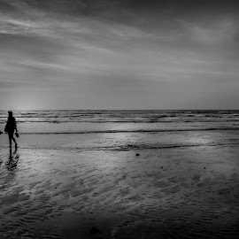 Last Two.... by Avik Mukhopaddhay - Black & White Landscapes ( monochromatic, black and white, seascapes, dramatic, seaside, landscapes )