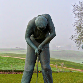 TEE TIME by Jody Frankel - Sports & Fitness Golf ( statue, golf course, golfer, green foggy, golf )
