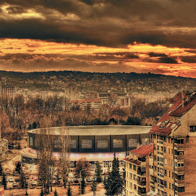 west by Aleksandar Z Dimitrijević - City,  Street & Park  Vistas ( clouds, arena, sunset, buildings, landscape, city )