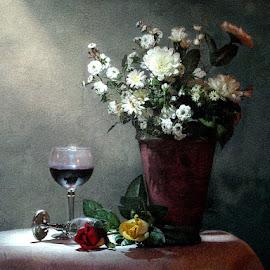 Cabernet Sauvignon by Bjørn Borge-Lunde - Digital Art Things ( fantasy, lighting, still life, wine glass, roses, glass, flowers )
