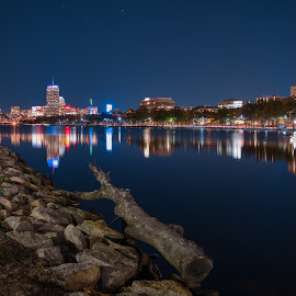 Boston from Cambridge Ma by Paul Gibson - City,  Street & Park  Skylines ( water, night photography, boston, reflections, long exposure, night )