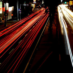 Light Traces on a Busy Street by Bill MacLachlan - Artistic Objects Other Objects ( traffic, cars, traces, busy, road, light )
