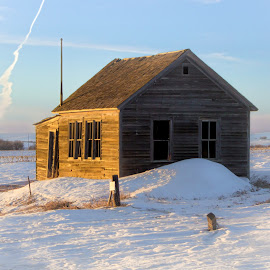 Abandon Schoolhouse by Julie Wooden - Buildings & Architecture Decaying & Abandoned ( partly cloudy, abandon schoolhouse, north dakota, hebron, snowy, architecture, landscape, frozen, golden blue hour, winter, nature, snow, outdoors, golden hour )