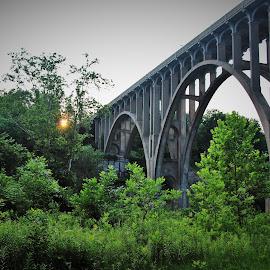 Station Bridge at Sunset by Victoria Fenton - Buildings & Architecture Bridges & Suspended Structures ( bridge at sunset, station bridge, ohio, sunset, bridge,  )
