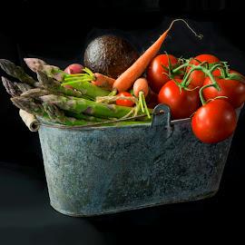 Vintage Bucket #4  by Jim Downey - Food & Drink Fruits & Vegetables ( asparagas, avocado, carrots, radish, tomatoes, onion )