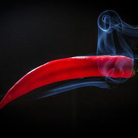 Smokin hot Chilli by Roger Carlsson - Digital Art Things ( red, vegetbles, smoking, smoke, hot, chilli )