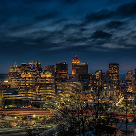 skyline by Mike Svach - City,  Street & Park  Skylines ( building, skyline, sunset, cityscape, evening )