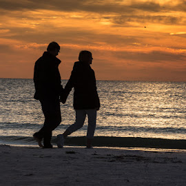 Beach at Sunset by Richard Michael Lingo - People Couples ( florida, coule, landscape, siesta key, people )