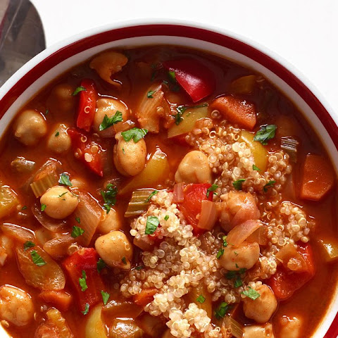 Chickpea and Red Pepper Soup with Quinoa