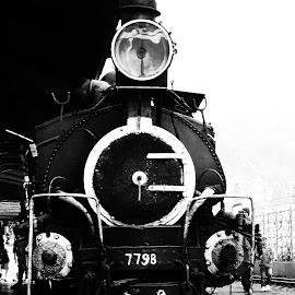 Heritage by Arijit Roy Chowdhury - Transportation Trains ( railway, black and white, engine, locomotive, train, transportation, heritage )