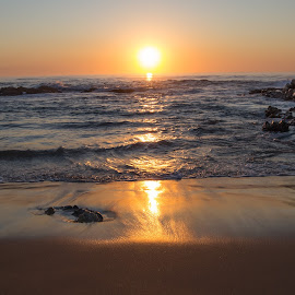 Sunrise Beach by Etienne van Dam - Landscapes Beaches ( water, orange, sand, reflection, waves, sunrise, beach, rocks,  )