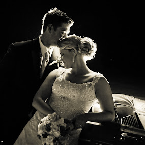 Wedded Bliss by Robin Haws - Wedding Bride & Groom ( love, classic car, wedding, couple, black and white photography, bride and groom )