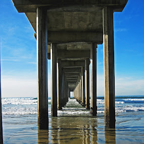 Scripps Pier by Justin Giffin - Landscapes Beaches ( san diego, california, pier, reflections, ocean, la jolla, , landscape, beach, Free, Freedom, Inspire, Inspiring, Inspirational, Emotion, Hope, vertical lines, pwc, #GARYFONGDRAMATICLIGHT, #WTFBOBDAVIS )