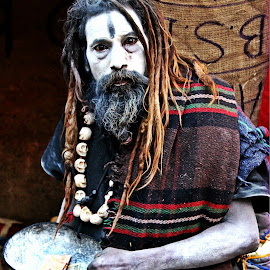 Portrait of a Tantrik   by Shibam Chand - People Street & Candids ( scary, monk, incredible india, varanasi, skull, aghori, ash, black magic, shiba, horrifying, india, tantrik, ghats in varanasi, travel photography, travel locations )