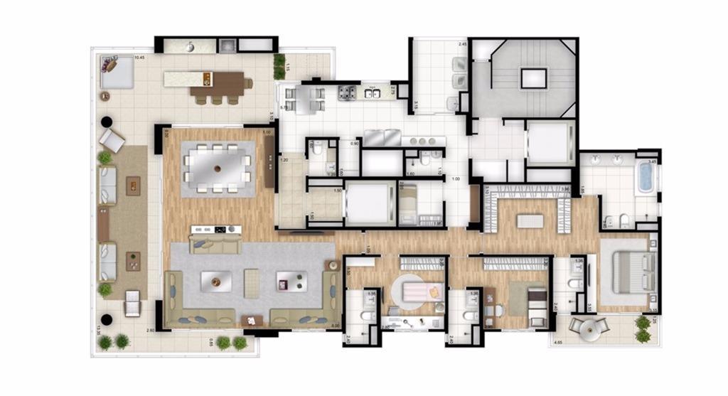 Planta Opção - 3 suítes - 288 m² - Torre Bianco