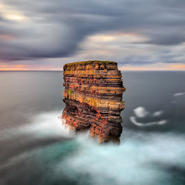 Dun Briste, Downpatrick Head  by Ryszard Lomnicki - Landscapes Cloud Formations ( clouds, ireland, dublin, sunset, galway, mayo, ocean, long exposure, seascape, sunrise, longexposure,  )