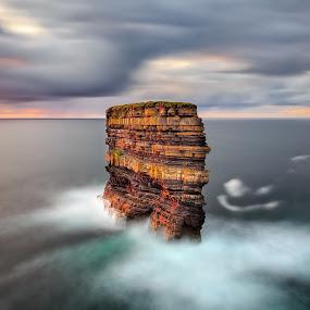 Dun Briste, Downpatrick Head  by Ryszard Lomnicki - Landscapes Cloud Formations ( clouds, ireland, dublin, sunset, galway, mayo, ocean, long exposure, seascape, sunrise, longexposure,  )