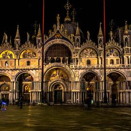 Saint Mark's Basilica by night by Hariharan Venkatakrishnan - Buildings & Architecture Public & Historical