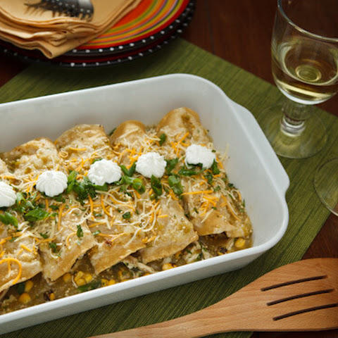 Roast Chicken and Corn Enchiladas with Tomatillo Sauce