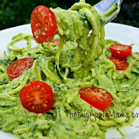 Creamy Avocado Pesto zoodles w/ cherry tomatoes
