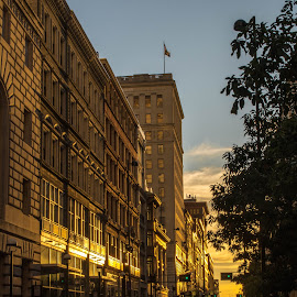 Sunset on Fourth by Richard Michael Lingo - Buildings & Architecture Office Buildings & Hotels ( fourth street, ohio, sunset, cincinnati, golden,  )