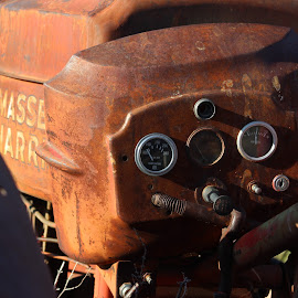 Tractor Gauges by Liz Huddleston - Transportation Other ( rusty, junk yard, tractor, junk, abandoned )
