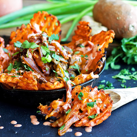 Caramelized Kimchi Fries {Lightened-up, Gluten Free, Vegan}
