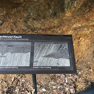 Overthrust Fault This site is an example of an overthrust fault.   Soil Lower Cetaceous (Potomac) Sands and Gravels Precambrian Schist Normal Position Before Faulting   Soil Schist Thrust Fault Plane ...