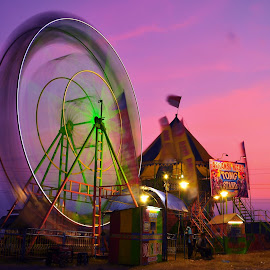 Entertainment at Dusk by Badroe Zaman - City,  Street & Park  Amusement Parks ( mood factory, color, lighting, moods, colorful, light, bulbs, mood-lites )