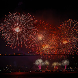 feast of the republic 3 by Enver Karanfil - Abstract Fire & Fireworks ( türkiye, i̇stanbul, bosphorus, fireworks, night, turkey, fire )