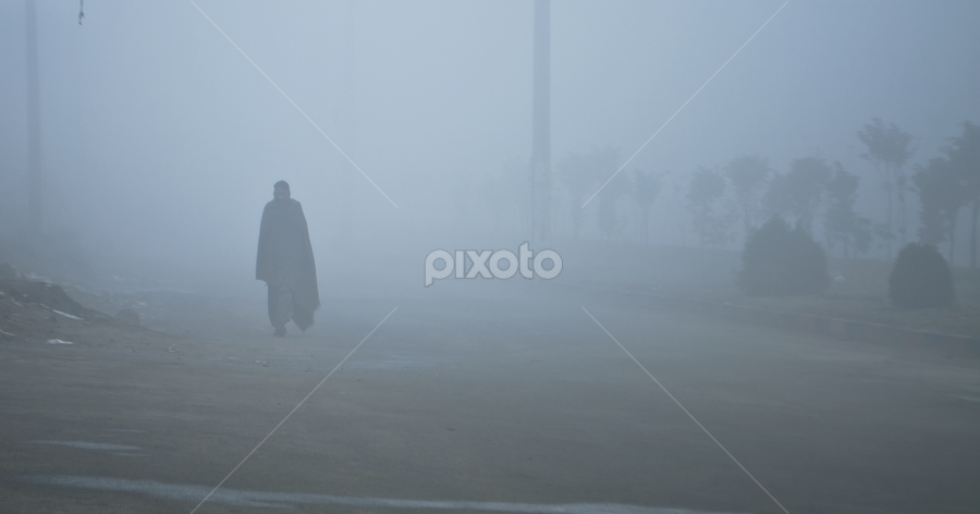 Ghost..?? ?? !! !! by Areesh Zubair - City,  Street & Park  Street Scenes ( pakistan, lahore, winter, fog, street, blur, ghost )