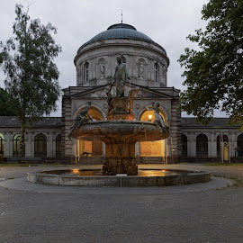fountains at night  by Jessica Horn - Buildings & Architecture Other Exteriors ( water, exterior, fountain, long exposure, germany, night, light, city )
